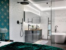 White wash Simply Bathrooms, Beautiful Bathrooms, Victoria And Albert Baths, Black Towels, White Space, Bold Prints, White Bathroom, All White, Bathroom Furniture