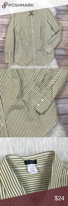 """J.Crew Olive Striped Perfect Button Down Shirt Excellent condition J. Crew Factory olive green and white Striped perfect Button Down Shirt. Size Medium. 100% cotton. Bust 40, length at longest 27.5"""", long sleeves. No trades, offers welcome. J. Crew Factory Tops Button Down Shirts"""