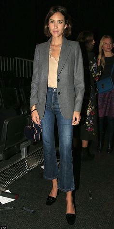 Beauty: Alexa showed off her svelte frame in a dainty shirt that she wore with a boyfriend blazer and cropped flared jeans