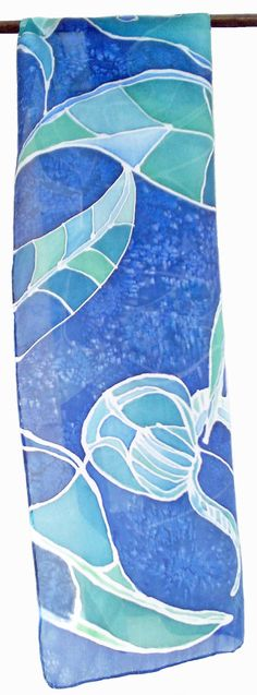 Hand Painted Silk Scarf-Blue&Green 130 x 35 cm 51 x 14