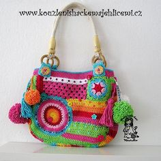 """Crazy rainbow bag designed by Vendula Maderska    I love love love this bag :-). It is totally different as all my previous bags - the pompoms are really funny when you are wearing it:-)…     The name of this bag is idea of my little one Natalka:-).. She told me: """" Oh mommy, what a crazy bag you made?"""" And she smiled on me:-)    I love her:-)) I am in love in both my girls - to my little amaizing rainbow fairies:-)    My author design - please respect copyright - thank you:-)"""