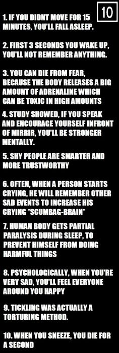 10 psychological facts ~ Humor lol