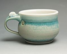 Sale Handmade stoneware soup mug or chili mug by BlueParrotPots