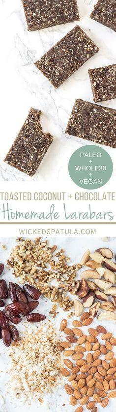 Toasted Coconut + Chocolate Homemade Larabars - Only 4 ingredients!!! {Whole30 + Paleo + Vegan}