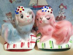 Vintage Maltese Dogs on Pillows Salt and Pepper Shakers Antique Collectibles or Cake Toppers