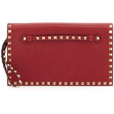 Valentino Rockstud Flap Wristlet Clutch Bag (2,385 CAD) ❤ liked on Polyvore featuring bags, handbags, clutches, red, red purse, wristlet clutches, valentino purses, flap handbags and valentino handbags