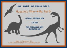 """Dinosaur Invitation by papersandpretties on Etsy, $7.00*******Not this invite but I like """" Roar Rumble and Stomp On over to...****"""