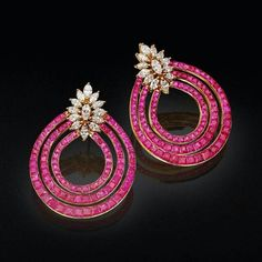 Beautiful Rubies and Diamond earrings by FKFJ