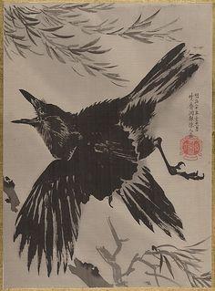 Crow and Willow Tree - Kawanabe Kyōsai (1831-1889)