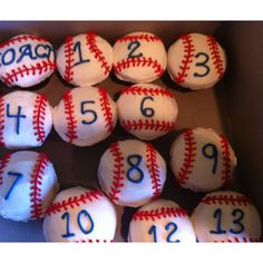 Baseball cupcakes for snack after game! Love the numbers on them.- For J's birthday, after the game!!!