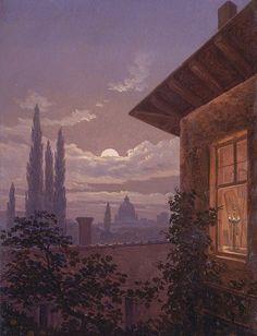 Italian Moonlight (Rome, St. Peter's Church in the moonlight), 1833, Carl Gustav Carus. German Romantic Painter (1789 - 1869)