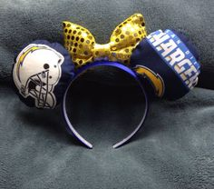 Chargers football inspired mouse ears by Ifyoukeeponbelieving