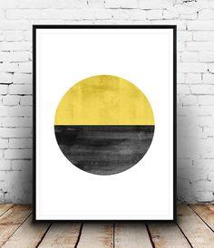 Watercolor print, Abstract art, minimalist print, yellow wall art, yellow decor, Geometric art, home art, simple art, house warming art