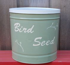 Storage Container Hand Painted Upcycled Popcorn Tin Bird Seed Covered Storage Container Tin Can Crafts, Crafts To Make, Animal Projects, Diy Projects, Recycled Gifts, Raffle Baskets, Cool Kitchen Gadgets, Repurposed Items, Dollar Store Crafts