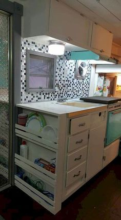 This is just a picture but a great idea for using a narrow space in the camper.