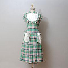 1940s Dress  Plaid Ruffle Apron Collar Dress by OldFaithfulVintage, $68.00
