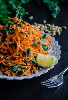 Carrot Salad with Coriander Vinaigrette and Pistachios via Blogging Over Thyme