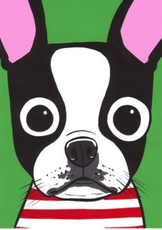 Boston Terrier Dog Original Painting Pop ART folk Turddemon outsider cartoon  What I wanted to get for J.
