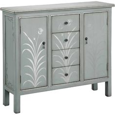 Arrange a vignette of framed photos or display a fresh-cut bouquet with this lovely console table, showcasing a white finish and hand-painted leaf details.
