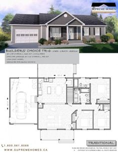 BUILDERS' CHOICE TR-6 - Maisons Suprêmes New House Plans, Home Builders, Supreme, New Homes, Floor Plans, Flooring, Building, Houses, Ideas