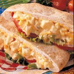 Egg Salad Pitas...I omit the cheese but add it if you want it.