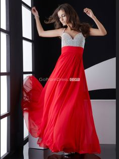 Chiffon A-line Beaded Bodice Empire long Prom Dress - gopromdres.com