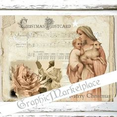 Madonna Child Christmas Postcard Large Image by GraphicMarketplace