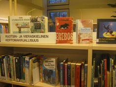 Huomasin näin esitettävän aineistopromootion tehokkuuden. En tiennyt että heillä oli lastenhyllyissä erikseen osa ruotsin- ja vieraskieliselle kirjallisuudelle. Huomasin sen vasta esille laitettujen kirjojen otsikoista.