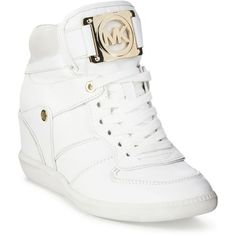 Michael Michael Kors Nikko Lace-Up High-Top Wedge Sneakers White High Top Sneakers, High Top Wedge Sneakers, Metallic Sneakers, Wedged Sneakers, Moda Sneakers, Sneakers Mode, Sneakers Fashion, Fashion Outfits, Fashion Shoes