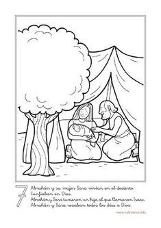 7     Abrahán y su mujer Sara vivían en el desierto.     Confiaban en Dios. … Abraham Biblia, Abraham Y Sara, Religion Catolica, Bible Illustrations, Bible Activities, Sunday School Crafts, Bible Lessons, Coloring Pages, 1