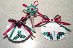 Christmas Seashell Ornaments Set 9  Greens & Reds by Eagle414, $17.95