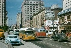 Adams bus Southbound on Hill St. near 6th St. Photo by Alan K. Weeks, Dorothy Peyton Gray Transportation Library and Archive at the Los Angeles County Metropolitan Transportation Authority on Flickr - used under a Creative Commons licence