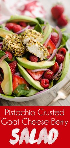 Pistachio Crusted Goat Cheese Berry Salad is a healthy and filling dinner recipe ready in only 10 minutes! This vegetarian salad is loaded with fresh strawberries, raspberries, avocados, pistachio crusted goat cheese and dressed with balsamic vinaigrette.
