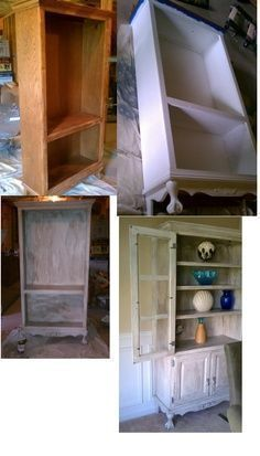 repurposed furniture before and after | before and after... china cabinet DIY by Lisa, Rana and Ginger! #shabbychicfurniturebeforeandafter