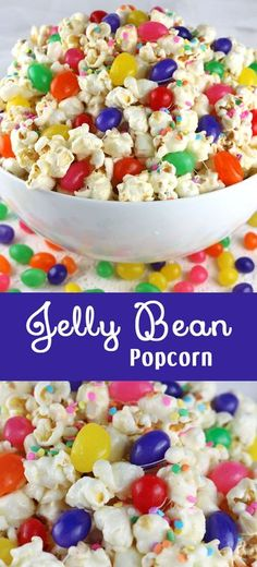 Jelly Bean Popcorn - a fun Easter treat. Sweet, salty, crunchy and delicious and it is so easy to make. It would be a great Easter Dessert or an unique Easter Candy for the kid's Easter Basket! Follow us for more fun Easter Food ideas.