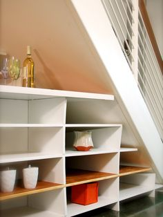 Under the Stairs - Utilize Spaces With Creative Shelves on HGTV