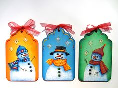 """A TaTa Robin Design: Decorative Painting - Pattern Packet ~ #265 """"Frosty Friends Ornaments"""". Trio of Joyful Snowman that will brighten your Christmas Tree during the Holidays. Pattern Packet Available at http://tatarobindesigns.etsy.com"""