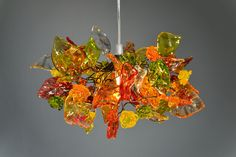 warm  color flowers and leaves, hanging chandelier op Etsy, 97,63€
