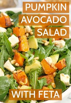 This is my roast pumpkin feta salad, this is the perfect side dish for any time of the year. Packed with baby spinach and rocket, it also has creamy avocado plus a super easy dressing so you can't go wrong! #chefnotrequired