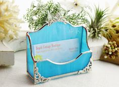 Business Card Holder  Turquoise Stained Glass  by MoreThanColors, $45.00