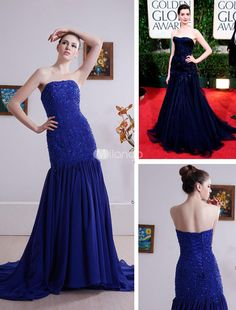 Elegant Navy Blue Strapless Satin Chiffon Evening Golden Globe Dress. Heavily embellished gowns are perfect for when you want to make a lasting impression. This one definitely qualifies. The bodice is strapless and features intricate beadwork throughout. The bodice extends well past the hips wh.. . See More Golden Globe Dresses at http://www.ourgreatshop.com/Golden-Globe-Dresses-C903.aspx