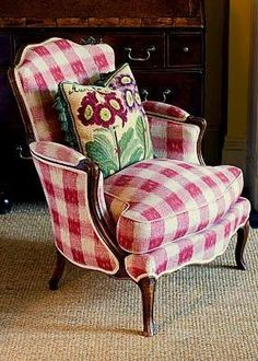 Red buffalo checked chair - FRENCH COUNTRY. THIS MAKES ME WANT AT LEAST ONE CHAIR IN MY YELLOW BUFFALO PRINT CURTAINS.