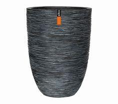 Capi Europe Polystone-Vase in Riffeloptik, rund, anthrazit: Dehner Garten Center
