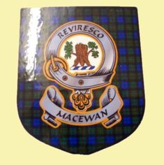 MacEwan Clan Tartan Clan MacEwan Badge Shield Decal Sticker Set of 3 - For Everything Genealogy