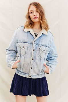 Urban Renewal Vintage Sherpa Lined Trucker Jacket - Urban Outfitters