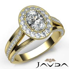 Halo Pre-Set Oval Diamond Bridal Engagement Ring GIA D VS2 18k Yellow Gold 1.4Ct #Javda #SolitairewithAccents