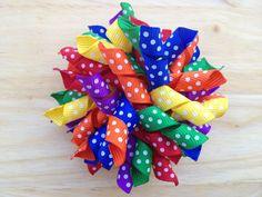 Rainbow polka dot korker hair bow - korker bow, baby hair bow, toddler bow via Etsy