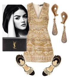 """black and gold"" by xaia ❤ liked on Polyvore featuring Alice + Olivia, Christian Louboutin, Alex Soldier, Yves Saint Laurent, gold_dress, embellished_shoes and black_clutch"