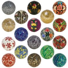 These decorative christmas balls and paper maches (paper pulp) are locally known as kar-e-kalamdani, pen case work. This name has been derived from its traditional Iranian name. The two major processes that are used in crafting these spell binding pieces of art are sakthsazi (mould making) and naqqashi (painting).
