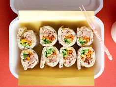 These delicious tuna sushi style sandwiches are perfect for a kids' lunchbox or light snack with drinks.